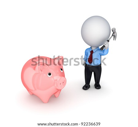 3d small person with a hammer in a hands and pink piggy bank. - stock photo