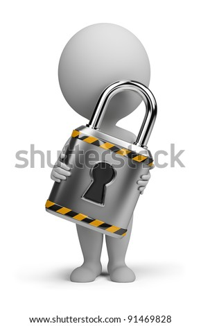 3d small person with a lock in the hands of. 3d image. Isolated white background.