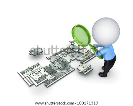 3d small person with a loupe and dollar made of puzzles.Isolated on white background. - stock photo