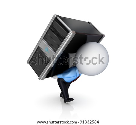 3d small person with a PC.Isolated on white background. 3d rendered. - stock photo