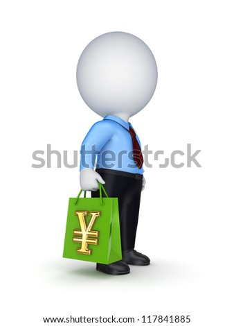 3d small person with a plastic bag in a hands.Isolated on white background.