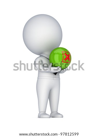 3d small person with a red cross mark in a hands.Isolated on white background.