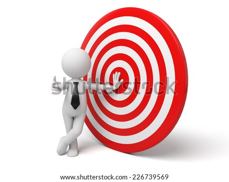 3d small person with a red target. 3d image. Isolated white background - stock photo