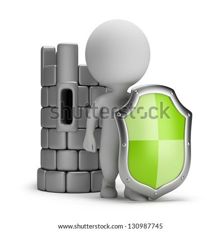 3d small person with a shield near the Castle. 3d image. White background. - stock photo