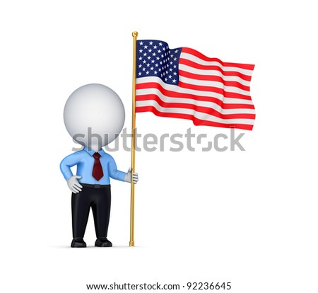 3d small person with american flag in a hand.Isolated on white background. - stock photo