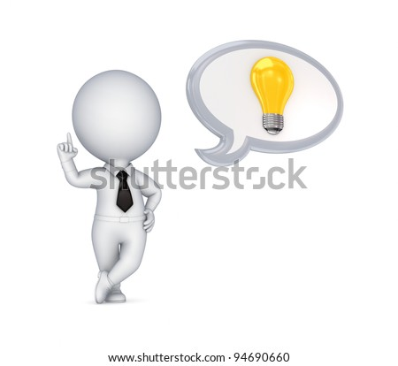 3d small person with an idea symbol.Isolated on white background.