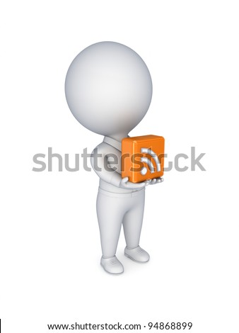 3d small person with an RSS symbol in hands.Isolated on white background. - stock photo