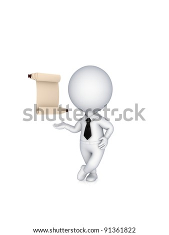 3d small person with ancient scroll.Isolated on white background. - stock photo