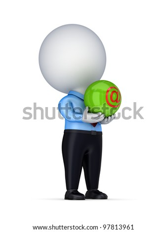 3d small person with AT symbol in a hands.Isolated on white background. - stock photo