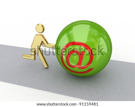 3d small person with AT symbol. Isolated on white background. - stock photo
