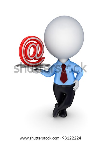 3d small person with AT symbol on a dish.Isolated on white background. - stock photo