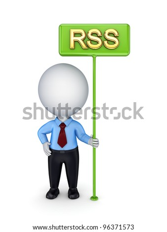 3d small person with bunner RSS.Isolated on white background. - stock photo