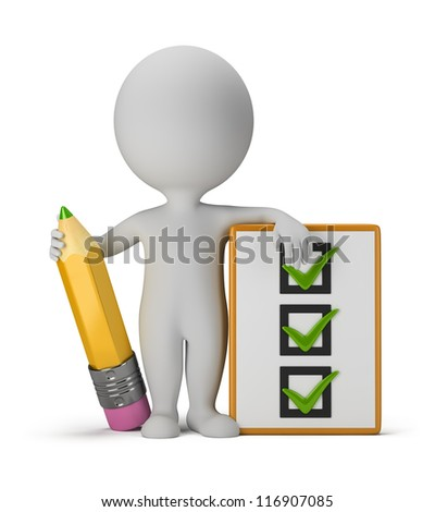 3d small person with clipboard and pencil. 3d image. Isolated white background. - stock photo