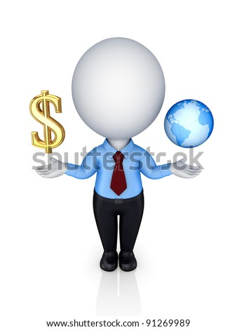 3d small person with dollar sign and planet Earth.Isolated on white background. - stock photo