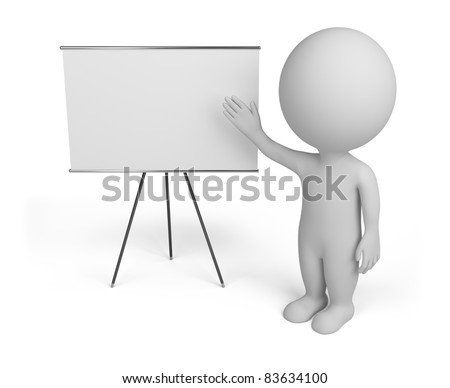 3d small person with empty board. 3d image. Isolated white background. - stock photo