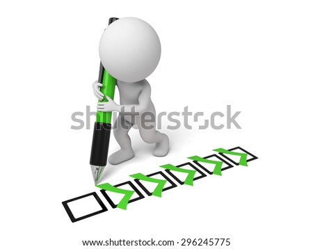 3d small person with some check mark and a pencil. 3d image. Isolated white background - stock photo