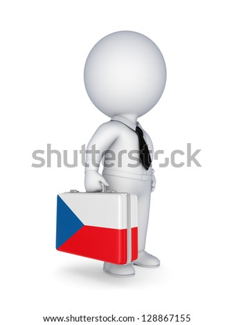 3d small person with suitcase with flag of Czech Republic.
