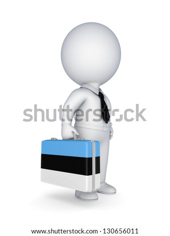 3d small person with suitcase with flag of Estonia.