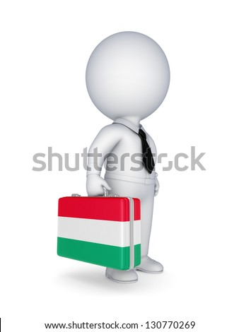 3d small person with suitcase with flag of Hungary.