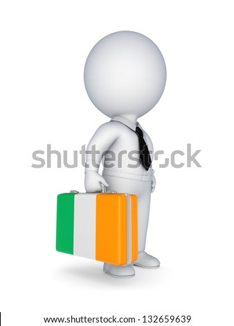 3d small person with suitcase with flag of Ireland.