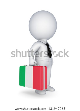 3d small person with suitcase with flag of Italy.