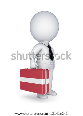 3d small person with suitcase with flag of Latvia.