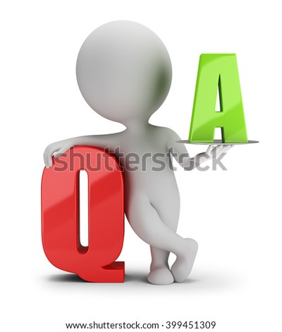 3d small person with the letter Q and A. 3d image. White background.