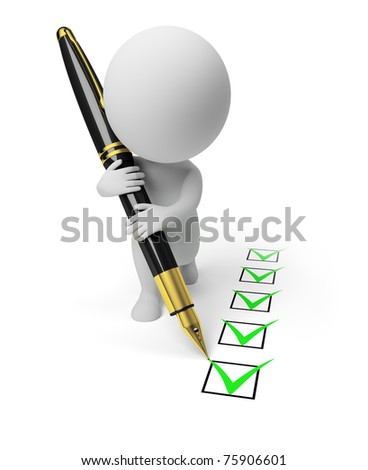 3d small person with the pen puts ticks in the list. 3d image. Isolated white background. - stock photo