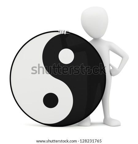 3d small person - yin yang. 3D image. On a white background. - stock photo