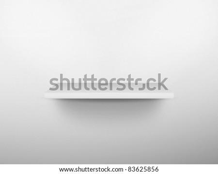 3D small white shelf - stock photo