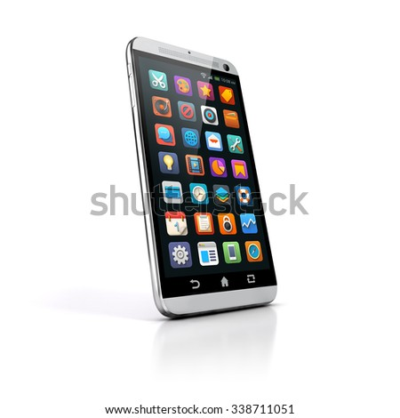 3d smart phone on white background - stock photo