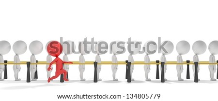 3d smart red man jumps a queue of white people - stock photo