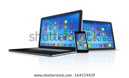 3D Smartphone, Digital Tablet Computer and Laptop isolated on white with clipping path - stock photo