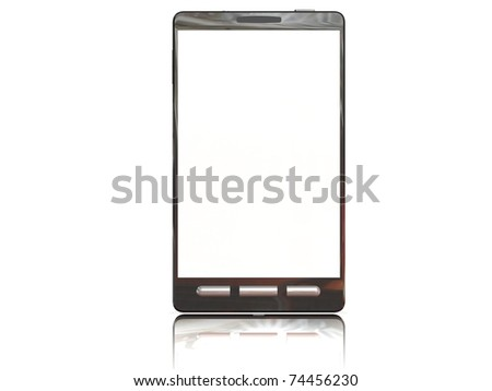 3D Smartphone Rendering with a blank white screen - stock photo