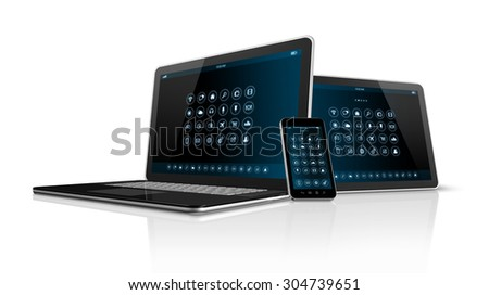 3D Smartphone tablet pc and Laptop isolated on white with clipping path - stock photo