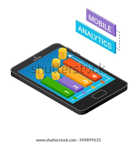 3D Smartphone with graphs in the isometric projection isolated on a white background.  Mobile analytics concept. Modern infographic template. Isometric illustration. - stock photo