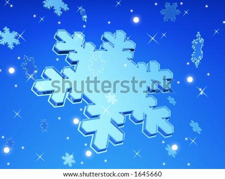 3D Snow Flake Falling - stock photo