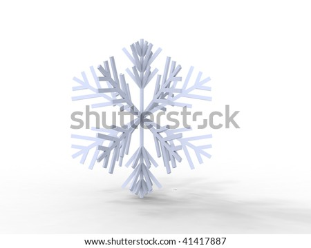3d snow flake / snowflake isolated on white - stock photo