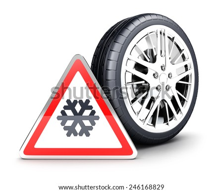 3d snow wheel and snowflake warning sign, isolated white background, 3d image - stock photo