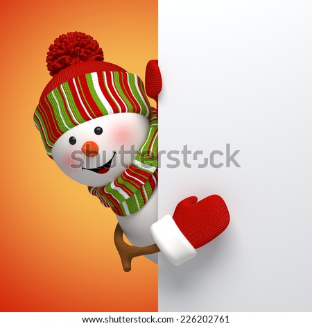 3d snowman banner, winter holiday symbol, Christmas greeting card template - stock photo