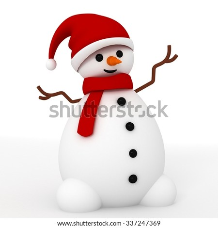 3d snowman cute character with red santa clause hat