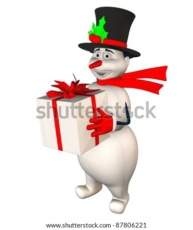 3d snowman holding a Christmas gifts isolated on white background - stock photo
