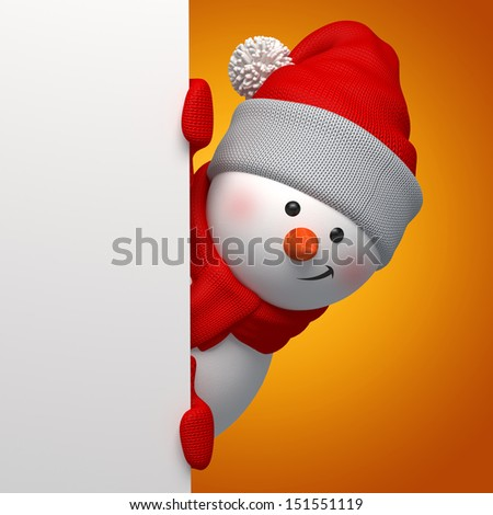 3d snowman holding blank Christmas banner - stock photo