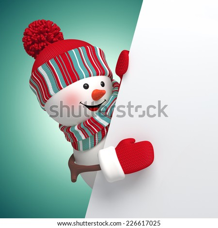 3d snowman holding holiday blank page template, Christmas background illustration - stock photo