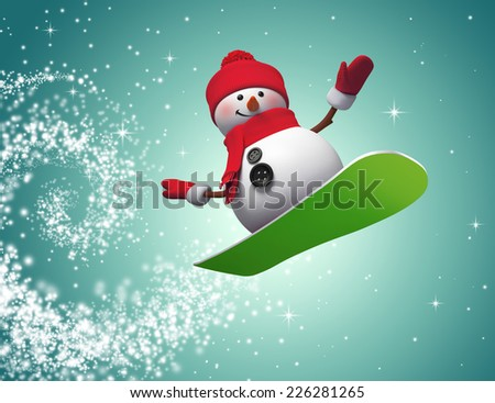 3d snowman jumping on snowboard, winter outdoor activity, holiday illustration - stock photo