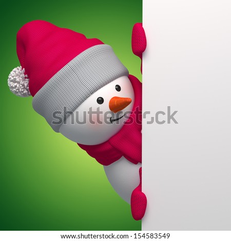 3d snowman looking out the corner, holding Christmas promotional banner - stock photo