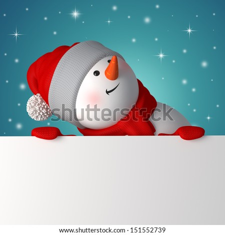 3d snowman looking up and holding blank Christmas banner - stock photo