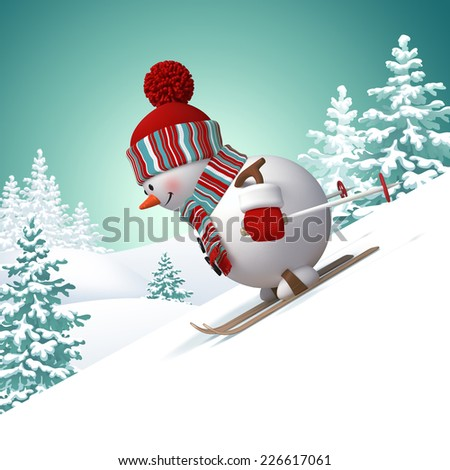 3d snowman skiing downhill illustration, winter forest landscape background, holiday outdoor activity, winter sports  - stock photo