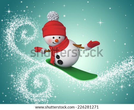 3d snowman snowboarding, winter sports, holiday illustration - stock photo