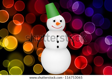 3d snowman with bucket on color bokeh background